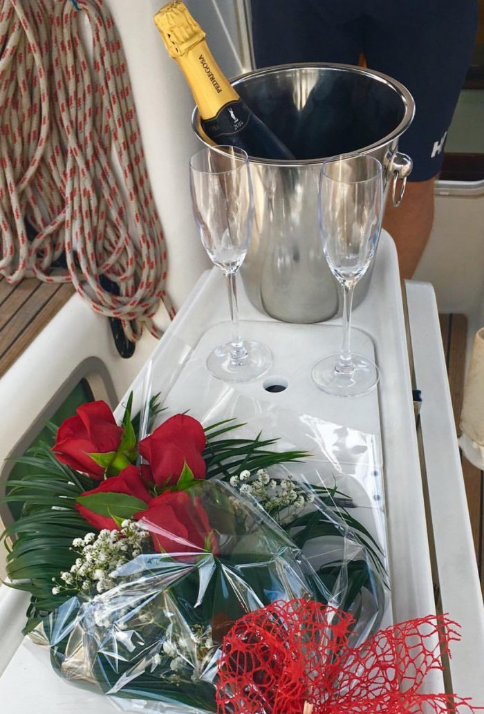 roses and champagne on board