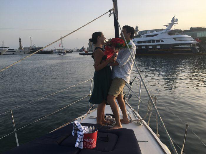 pedida de mano en barco