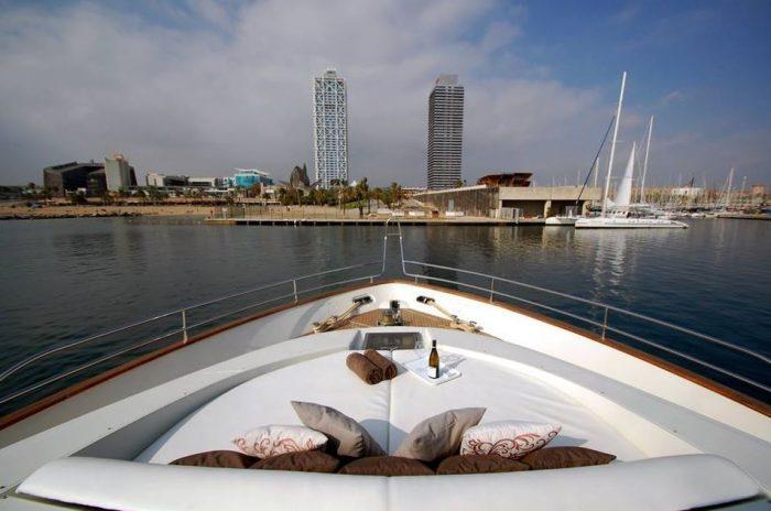 bow of luxury yacht barcelona